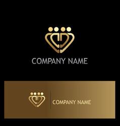 gold heart group logo vector image