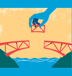 Hand complete the bridge with the last piece vector