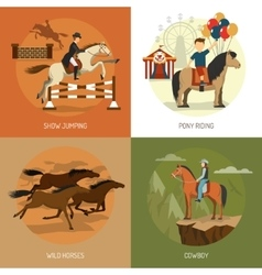 Horse breeds concept 4 icons square vector