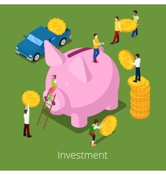 Isometric Investment Process Piggy Money Box vector image vector image