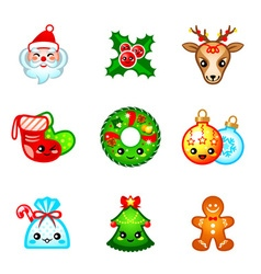 Kawaii Christmas icons vector image vector image