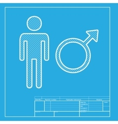 Male sign White section of icon on vector image vector image
