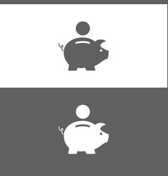 Piggy bank icon on white and dark background vector
