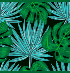 Seamless pattern with tropical leaves vector