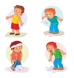 Set icons little boy sick vector