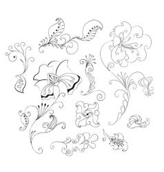 Set of doodle flowers vector