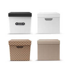 set of storage boxes vector image