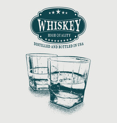 Sketch whiskey logo and two glasses of beverage vector