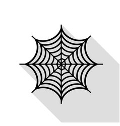 Spider on web black icon with flat vector