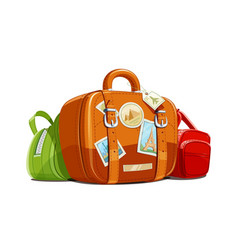 suitcase and bag for travel vector image vector image