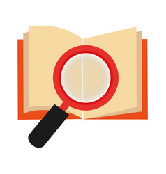 Textbook with magnifying glass library isolated vector