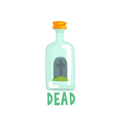 tombstone on the bottom of giant alcohol bottle vector image