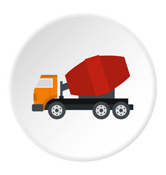 Truck concrete mixer icon circle vector
