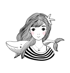 Beautiful young girl sailor with a whale and star vector