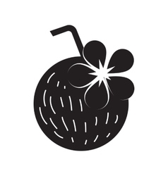 Coconut cocktail icon simple style vector