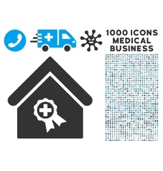 Certified clinic building icon with 1000 medical vector