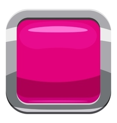 Pink square button icon cartoon style vector