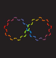 Endless mobius loop colorful foot steps vector