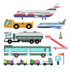 Airport service vehicles and planes vector