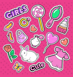 cute girl fashion stickers patches and badges vector image