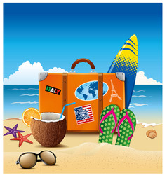 holiday suitcase with sticker flip-flops summer vector image