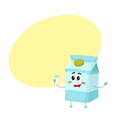 Funny cute milk box character with a shy smile vector