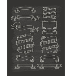 Set of ribbons in vintage style with chalkboard vector image