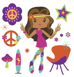 Hippie girl with psychedelic style elements vector