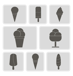 Monochrome icons with ice cream vector