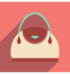 Flat icon with long shadow leather handbag vector