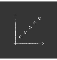 Growth graph Drawn in chalk icon vector image