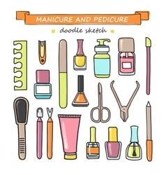 Set of manicure and pedicure doodle vector