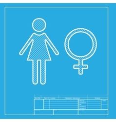 Female sign  white section of icon on vector