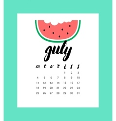Calendar for july 2016 vector