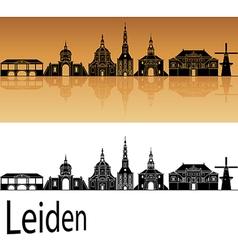 Leiden skyline in orange background in editable vector image