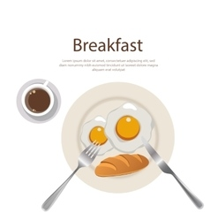 Breakfast menu egg yolk with bread and cofee on vector