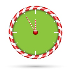 Candy cane clock isolated on white vector image