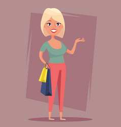 Cheerful blond girl with shopping bags sale buyer vector