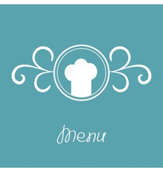 Chef hat and round abstract frame menu card vector