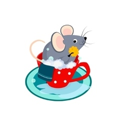 Cute cartoon mouse in the bath of cup vector