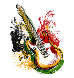 Electric guitar grunge style art vector