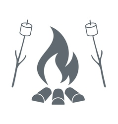 Fire and marshmellow icon vector