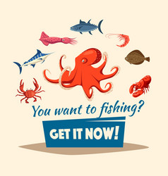 Fishing catch of fishes or seafood mollusks vector