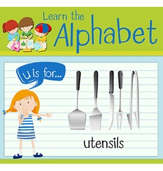 Flashcard letter U is for utensils vector image vector image