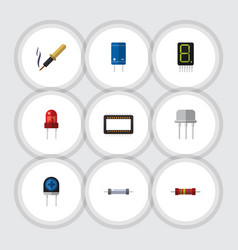 Flat icon appliance set of mainframe resist vector