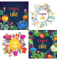 Flower wreath frame spring or summer vector