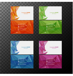 Four businesscard templates with front and back vector