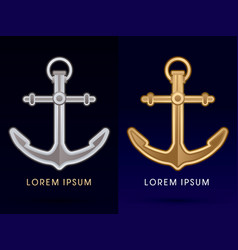 Gold and silver anchor vector