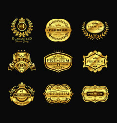 golden badges stickers premium quality isolated vector image vector image