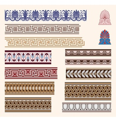 Greek border ornaments vector